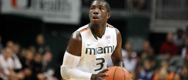 Miami Hurricanes guard Malcolm Grant looking for two points vs Duke at home.