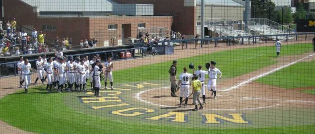 Iowa Hawkeyes vs Michigan Wolverines baseball game at Ray Fisher Stadium.