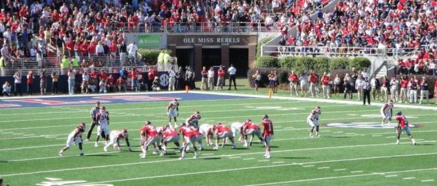 Ole Miss offense vs Arkansas defense in Vaught-Hemmingway Stadium in 2011.