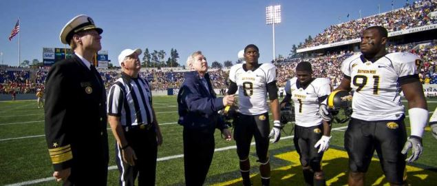 Southern Miss calling the coin toss during a 2011 game vs Navy.