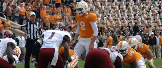 QB Tyler Bray commands the Volunteers offense during a homegame at Neyland Stadium.