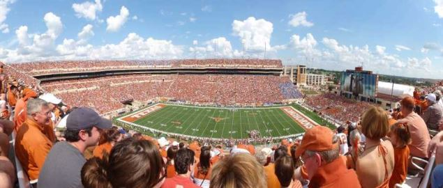 Texas Longhorn's Darrell K. Royal Memorial Stadium from the upper deck at a home game.