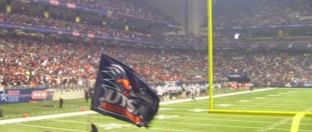 Fans pack into the Alamodome to witness UTSA's inaugural 2012 football game.