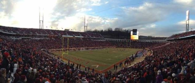 Scott Stadium at night during Virginia's home game vs Virginia Tech in 2013.