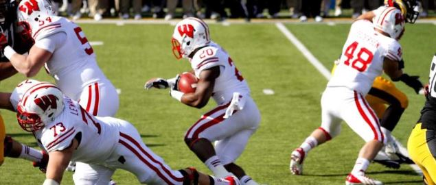 A big hole for Badger running back James White vs Iowa.