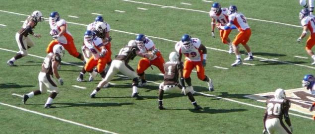 Wyoming Cowboys on defense vs Boise State in a 2006 regular season game.