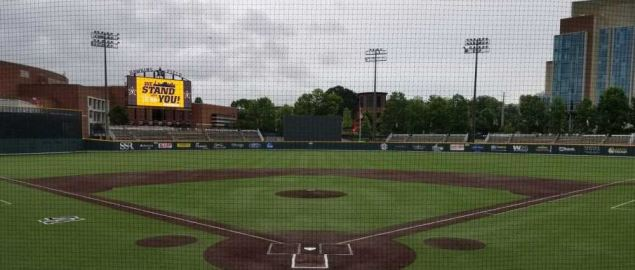 View of Vanderbilt's Hawkins Field from behind home plate.