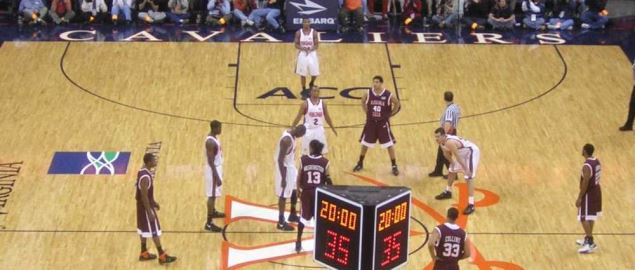 Virginia Tech and UVA just before tip-off at John Paul Jones Arena.