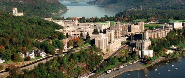 View of USMA looking north up the Hudson River.