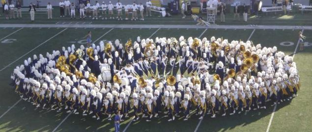 Mountaineer Marching Band performing the song 'Simple Gifts' during a pregame performance.