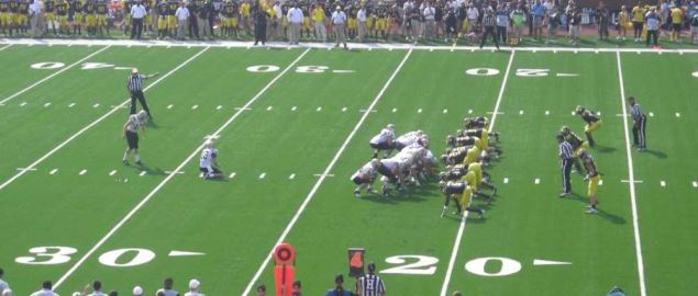 Western Michigan kicking a field goal vs Michigan in a 2011 away game in Ann Arbor.