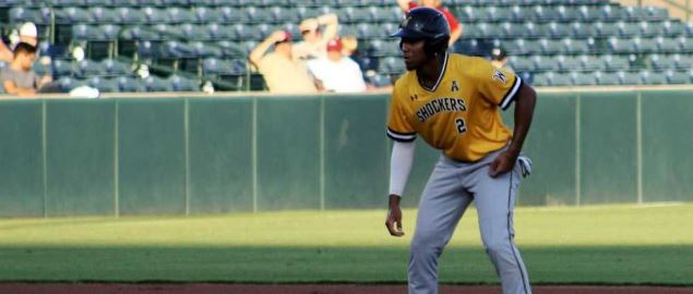 Infielder Alex Jackson leads off second base for Wichita State in an exhibition game.