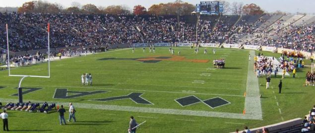 Yale Bulldogs hosting a home game in 2006 at Yale Bowl football stadium.